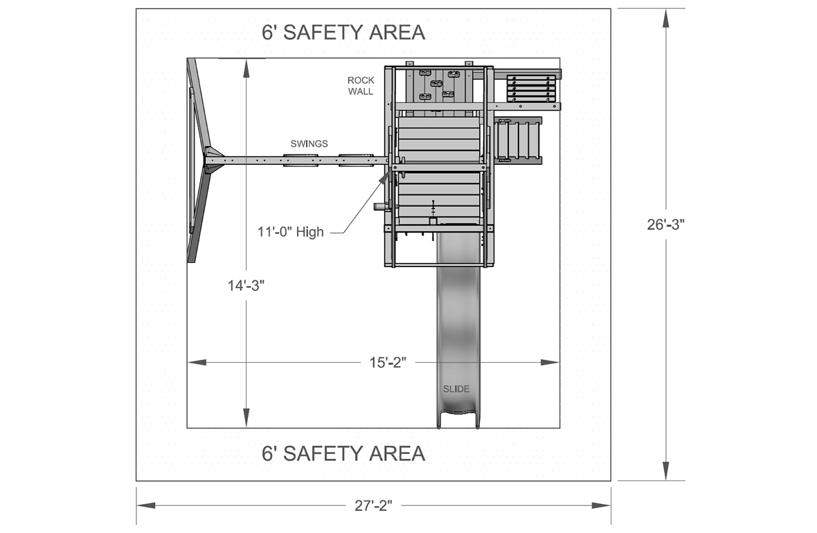 swing set safety zones set by ASTM