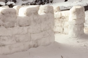 play set as snow fort