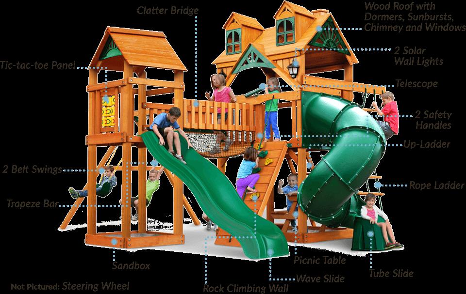 Swing Set With Bridge Slides 2 Towers Wilderness Gym Kids