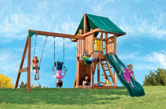 Children's fantasy of the perfect play day can be made a reality with the three swings, sandbox, wave slide, rock climbing wall and much more.