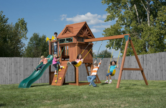 The Sky Loft swing set features classic play activities for an affordable price.
