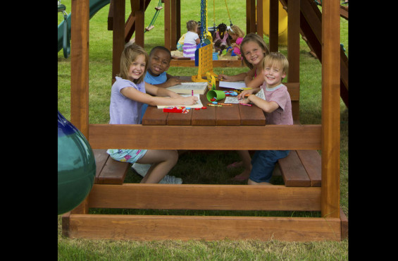 Made from California Redwood, our picnic table is rot and insect resistant so your kids have a place to recharge for a lifetime.
