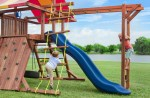 This swing sets is packed with many kid-approved activities such as a rope ladder and monkey bars.