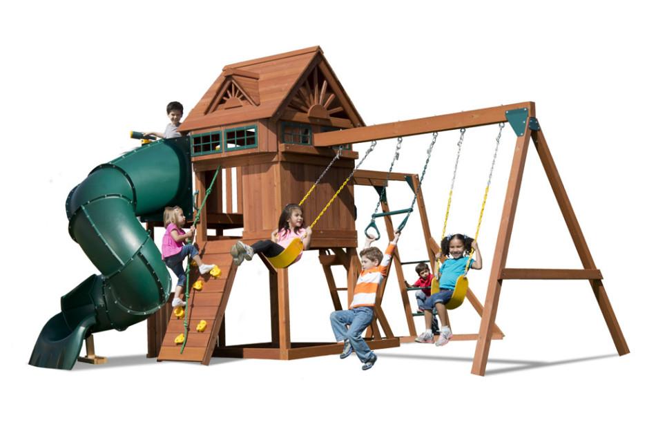Sky Loft Swing Set With Tube Slide Monkey Bars Kids Creations