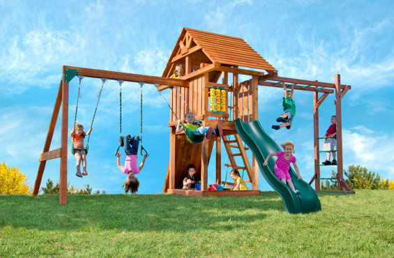 This is the top of the line Circus playset featuring a wood roof, monkey bars, several imaginative activities, swings and a sweeping wave slide.