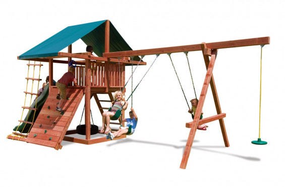 This outdoor play set has a limited lifetime warranty on wooden components, 3 yr warranty on hardware/accessories & a 1 yr warranty on ropes & canopies.