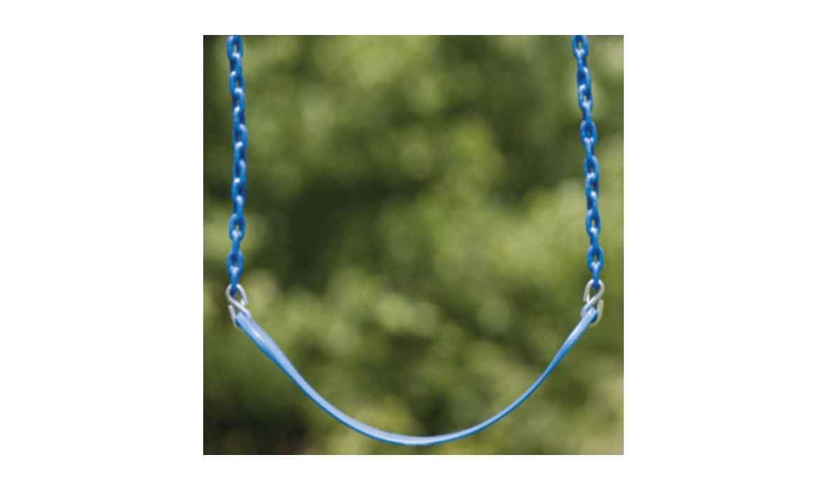 The plastisol coated chain protects the swing from outdoor elements like sun and rust while protecting kids' fingers with a no-pinch grip.