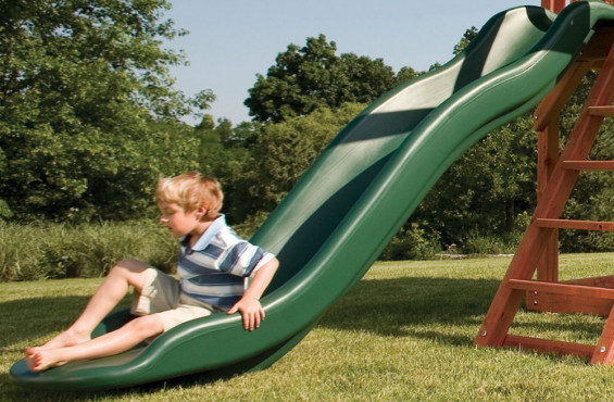 This ultra-premium scoop slide will be sure to get kids to the bottom in the most fun way possible.