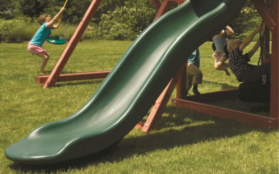 Added wave element provides extra excitement to the play set slide.