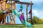 Features a 9 ft. wave slide and monkey bars for never-ending fun.