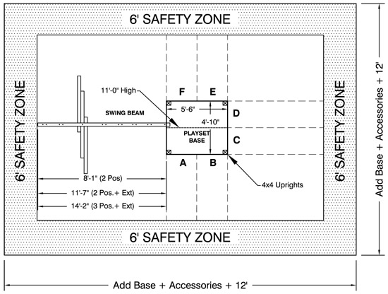 grand stand swingset safety zone