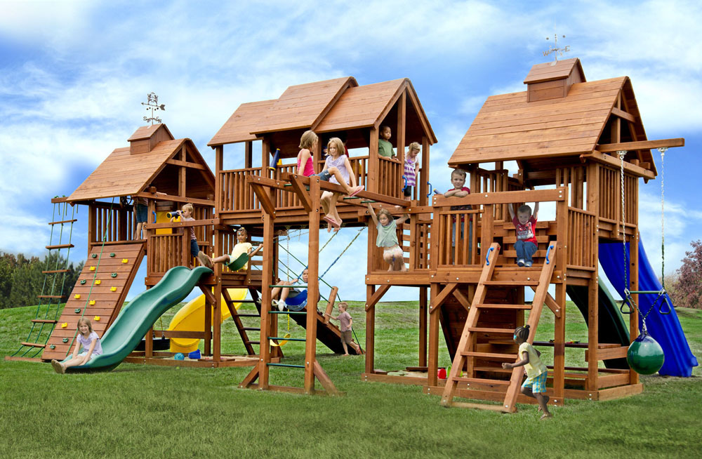 Adventure Mountain Big Swing Set With 4 Slides Amp Play Decks