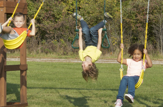 Two belt swings are included so children can swing into action or twist, turn and spin upside down on the trapeze bar with rings.