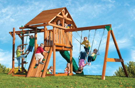 The Circus playset is hand-crafted in the U.S.A. with 100% California redwood - well known for it natural resistance to rot, decay and insects.
