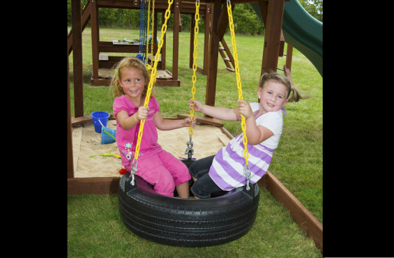 This classic tire swing can hold 250 lbs, spin 360 degrees, and has a plastisol coated chain for a no-pinch grip.