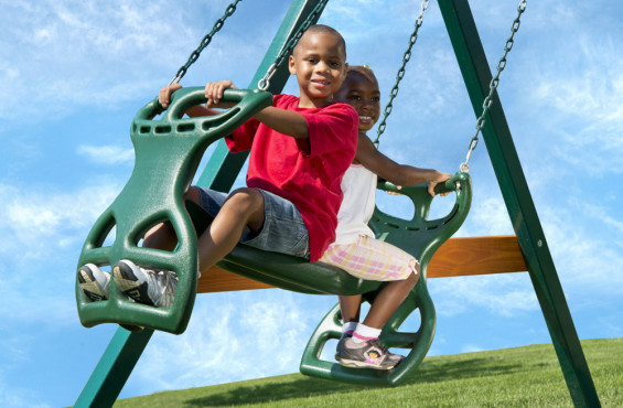 Our Double Glider Swing supports 150 lbs and comfortably accommodates two kids so your child can swing alone or with a friend. Perfect for promoting teamwork!