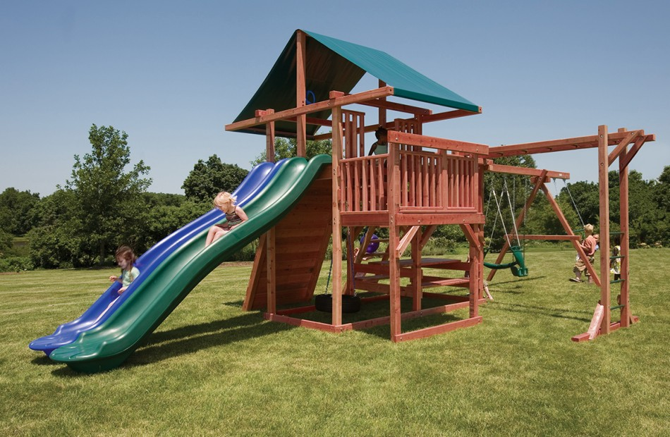 home wooden swing sets premier redwood swing sets main attraction