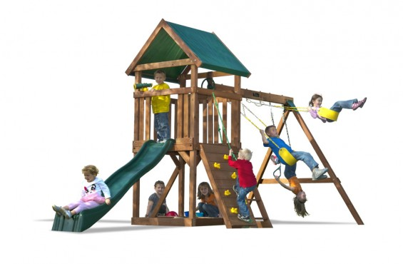 At 18 ft. 2 in. wide, the High Flyer is the perfect starter set for kids and can fit in smaller backyards.