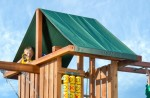 Strong vinyl canopy provides plenty of shade during play and makes the perfect play fort.