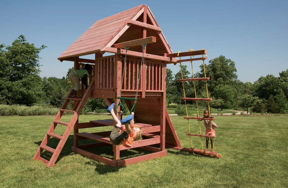 ... The Juggling Act's redwood construction makes it resistant to rot and  insects, but it's also; The swings ... - Juggling Act Small Swing Set For Smaller Backyards Kids Creations