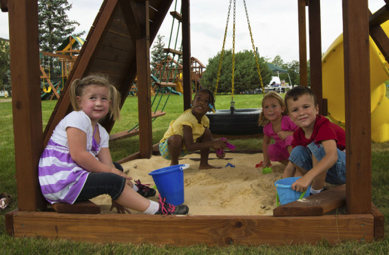 The sandbox provides a space for kids to rest, but still use their imagination for fun play.