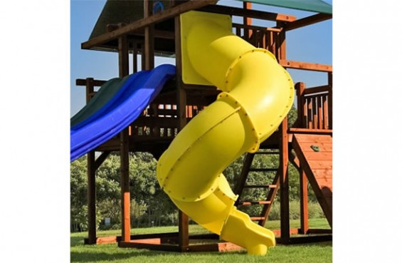 Our 7ft Spiral Slide is a great addition to our play sets since its heavy duty design is made to support extended play. Proudly made in the US, add the Spiral Slide for more fun!