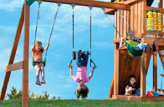 No playset would be complete without swings. We even added trapeze bars with gymnastic rings to give kids more variety during play.