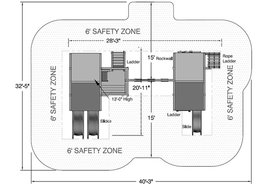 Midway swing set safety zone for safe play