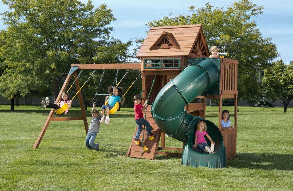 Sky Loft Backyard Swing Set With Tube Slide Swings Kids Creations