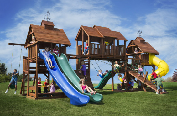 Adventure Mountain includes almost every play accessory with highlights including 4 slides, 6 swings, 2 rockwalls, and 2 sandboxes. Our biggest play set for the best adventure!
