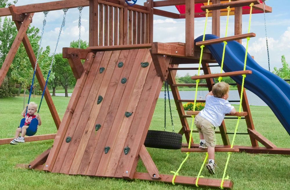 The 5' Rockwall gives kids an exciting way to reach their play deck. Add our rockwall addition to help kids build strength and stamina while enjoying their play set.
