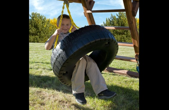 The tire swing has plenty of room for two and can send children spinning in 360 degrees of motion.