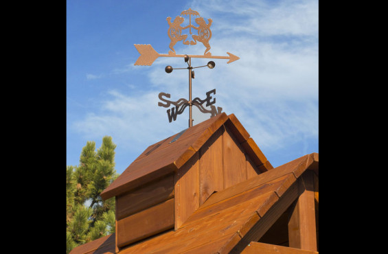 Weathervanes make this play set not only fun, but aesthetically interesting to complement your backyard.