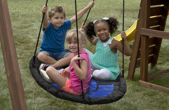 Large circular design helps children develop social and teamwork skills.