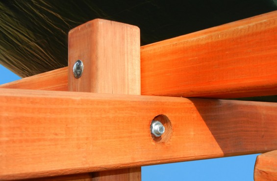 We carefully sand all corners until they are smooth to the touch and use recessed bolts & hardware.