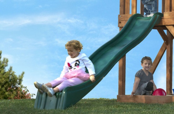 The wave slide will be sure to be the center of attention during the play.