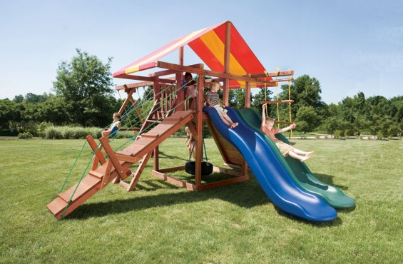 The Big Top set comes with two scoop slides made from heavy duty plastic to withstand wear and tear. Both slides come with a 3 year warranty for added security from breakage.