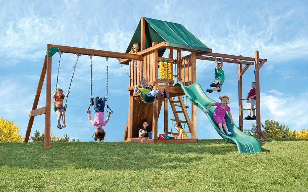 home wooden swing sets signature redwood swing sets circus with monkey