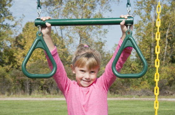 The trapeze bar with rings promotes flexibility, hand-eye coordination and stamina in your aspiring backyard gymnast.