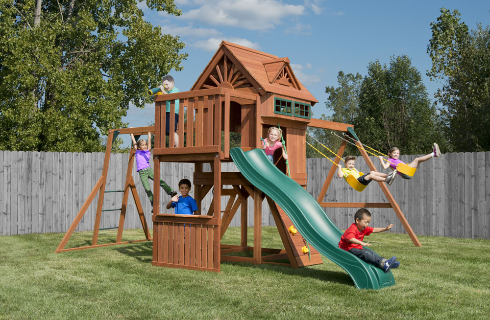 Sky Loft Swing Set With Monkey Bars Rockwall And Slide Kids Creations