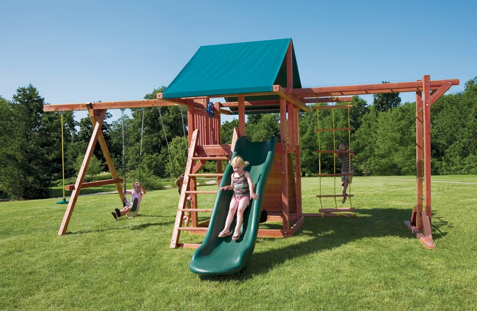 wood outdoor play structures pot o 39 gold with monkey bars