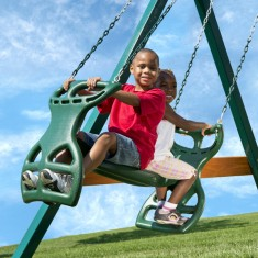 Kids love gliding through the air on this swing set glider.