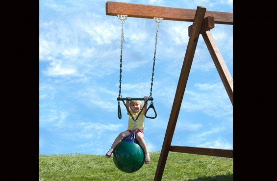 Buoy ball and attached trapeze bar with rings will get children twisting - all while swinging high into the sky.