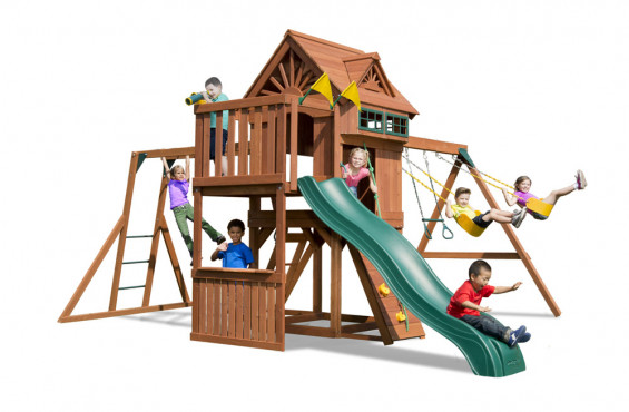 The Sky Loft features 12 play activities and a two-tier play deck totaling 23 square feet. Once children reach the play decks, they have the option of exploring the plays cape with a swiveling telescope or steering wheel. In addition, children can look out one of the four lookout windows to keep track of their friends.