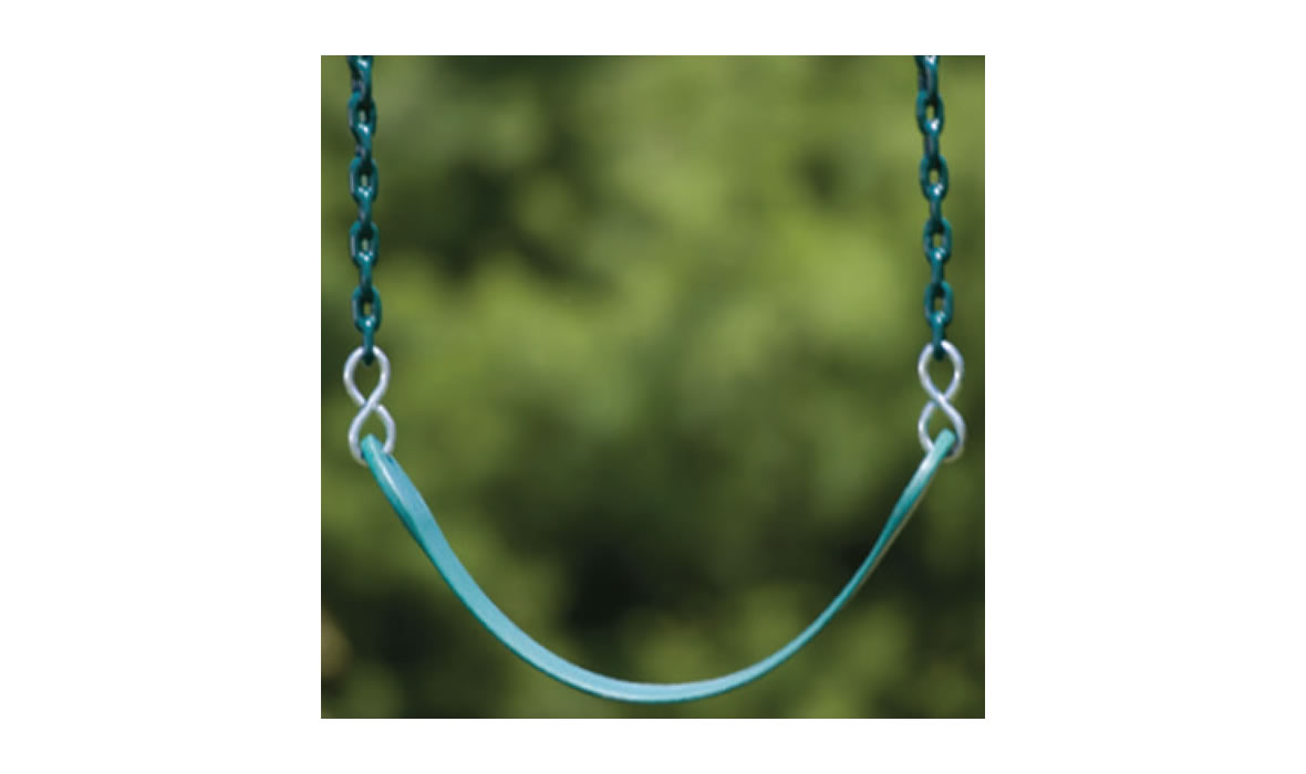 Green belt swing seat with plastisol coated chains for no more finger pinching!