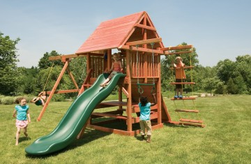 Outdoor play sets with multiple play activities