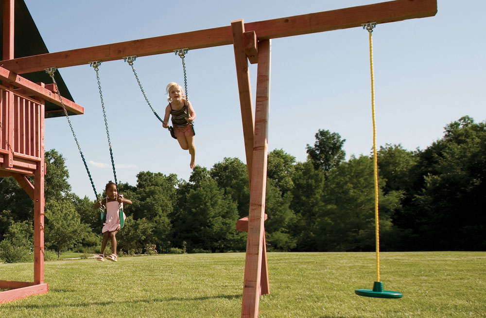 Opening Act Wood Swingset For Kids With Large Slide Canopy Kids