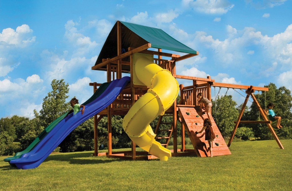 home wooden swing sets premier redwood swing sets the high wire