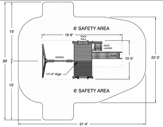 Two Ring swing set safety footprint