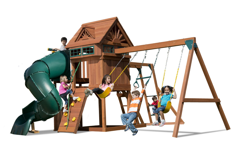Sky Loft Swing Set With Tube Slide Monkey Bars Kids Creations